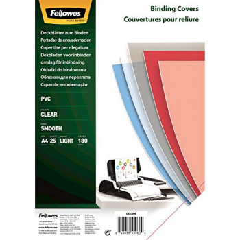 Fellowes A4 Binding Covers, PVC 180 Micron, Clear, Pack of 25