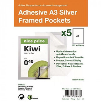 Pelltech P185505 A3 Self Adhesive Display Frame with Magnetic Closure - Silver (Pack of 5)