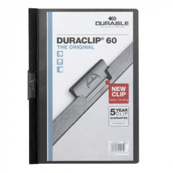 Durable Duraclip Folder PVC Clear Front 6 mm Spine for 1-60 Sheets A4 - Black (Pack of 25)