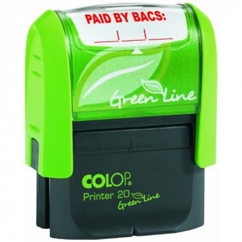 COLOP P20GLPAI Paid By Bacs Green Line Word Stamp - Red