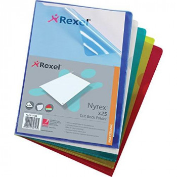 Rexel Nyrex Folder Cut Back A4 Assorted Ref 12131AS [Pack of 25]