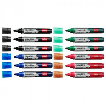 Nobo Liquid Ink Drywipe Marker for Flipchart and Whiteboards, Film Bullet Tip - Pack of 12, Assorted Colours