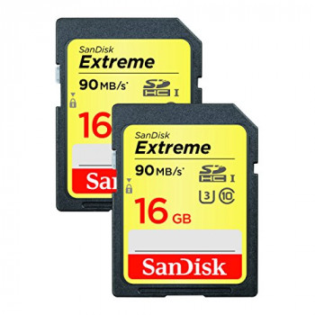 SanDisk Extreme 16 GB SDHC Memory Card, up to 90 MB/s Read, UHS-I U3 - Twin Pack