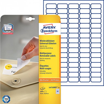Avery L4732REV-25 Mini Labels with Removable Adhesive (35.6 x 16.9 mm Labels, 80 Labels Per A4 Sheet, 25 Sheets) - White