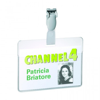 Durable Visitor Name Badge 60 x 90 mm - Clear (Pack of 25)