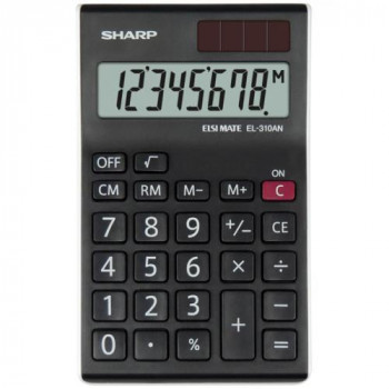 Sharp EL-310ANWH Office Semi-Desktop Calculator - Black/White