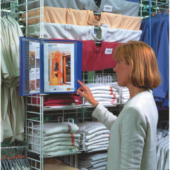 Tarifold 52771 Technic Wall Display Unit with 5 Clip-on Index Tabs and 10 Pockets A4 Blue Ref 414101