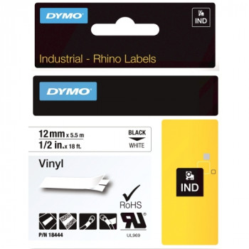 Dymo RhinoPRO 18444 Data Cartridge Label - 12 mm Width x 5.50 m Length - 1 Each