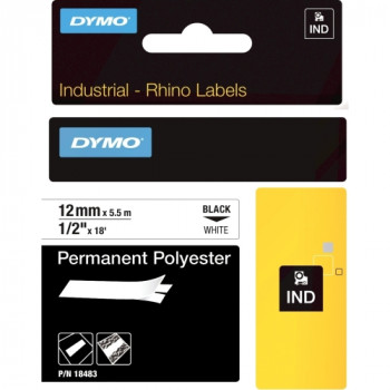 Dymo RhinoPRO 18483 Wire & Cable Label - 12.70 mm Width x 5.49 m Length - 1 Each