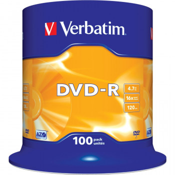 Verbatim 43549 DVD Recordable Media - DVD-R - 16x - 4.70 GB - 100 Pack Spindle