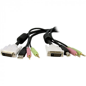 StarTech.com 10ft 4-in-1 USB Dual Link DVI-D KVM Switch Cable w/ Audio & Microphone