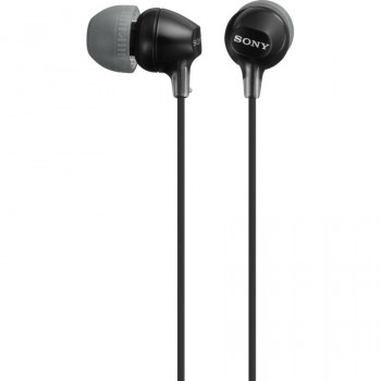 Sony MDR-EX15AP/B Wired 9 mm Stereo Earset - Earbud - In-ear - Black