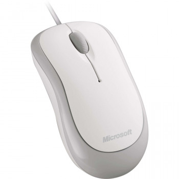 Microsoft Mouse - Optical - Cable - 3 Button(s) - White