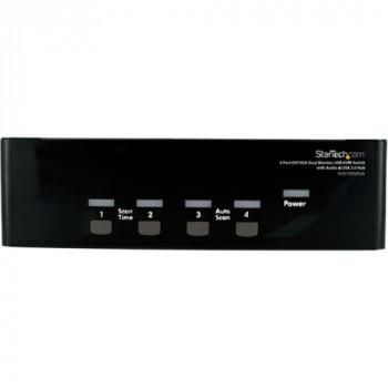 StarTech.com 4 Port DVI VGA Dual Monitor KVM Switch with Audio & USB Hub