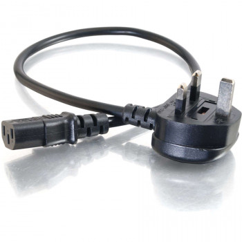 C2G 88512 Standard Power Cord - 1 m Length - IEC 60320 C13 - BS 1363