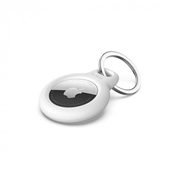 Belkin AirTag Case with Key Ring (Secure Holder Protective Cover for Air Tag with Scratch Resistance Accessory) - White