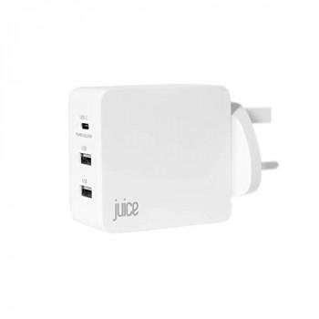 Juice Triple Three Port Universal Mains Charger USB Type-C & USB, 3.1A, White