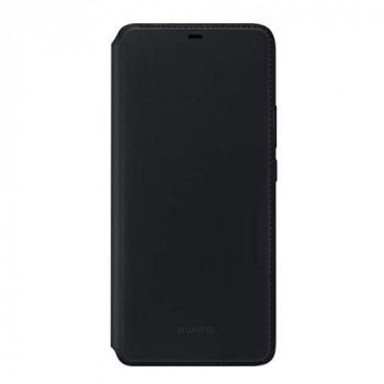 Huawei Flip Folio Textured Wallet Cover/Case for Mate 20 Pro, Black