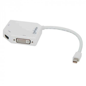 Manhattan Mini DisplayPort 1.2 to HDMI, DVI and VGA Adapter Cable (3-in-1), 25cm, White, Male to Female, Passive, HDMI 4K@30Hz, VGA and DVI 1080p@60Hz, Compatible with DVD-D, 3 Year Warranty, Blister