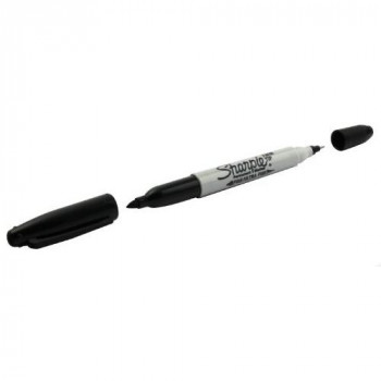 Sharpie Twin Tip Marker Pen Black - Pack 12