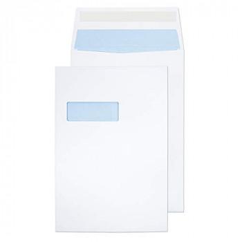 Blake Purely Packaging C4 324 x 229 x 25 mm 140 gsm Gusset Pocket Peel & Seal Window Envelopes (9001) White - Pack of 125