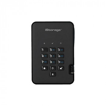 iStorage IS-DA2-256-1000-B 1TB diskAshur2 USB 3.1 secure portable encrypted hard drive - Phantom Black
