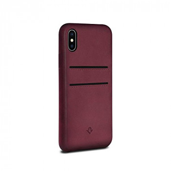 Twelve South Relaxed Leather Case for iPhone X/Xs | Hand Burnished Leather Wallet Shell (marsala)