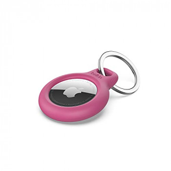 Belkin AirTag Case with Key Ring (Secure Holder Protective Cover for Air Tag with Scratch Resistance Accessory) - Pink