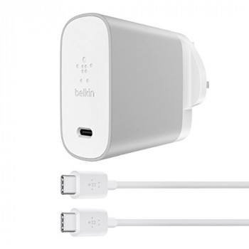 Belkin 45 W USB-C Universal Home Charger + 6 ft/1.8 m USB-C to USB-C Cable Nintedo Switch, Silver