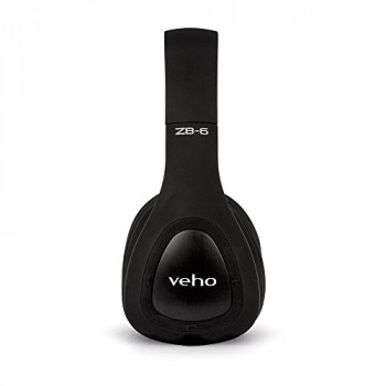 Veho ZB-6 On-Ear Bluetooth Headphones  | Foldable Design | Microphone | Remote Control | Wired Option | Rechargeable Wireless Headphone - Black (VEP-014-ZB6)