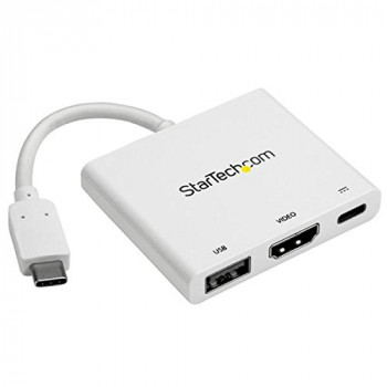 StarTech USB-C to 4K HDMI Multifunction Adapter with Power Delivery and USB-A Port (White)