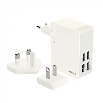 Leitz Complete Traveller USB Wall Charger with 4 USB ports - White