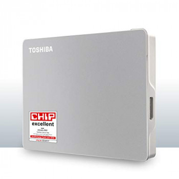 Toshiba 4TB Canvio Portable Flex External Hard Drive for Mac, Windows PC and Tablet, Includes USB-C and USB-A Cable, Silver (HDTX140ESCAA)
