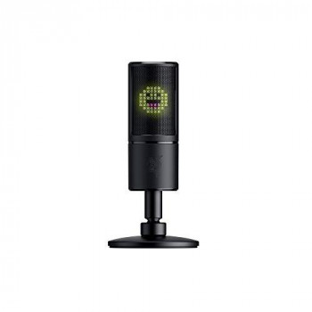 Razer Seiren Emote - USB Condenser Microphone for Streaming with Emoticon Display (8-Bit LED Display, Stream-Reactive, Hypercardioid Microphone, Shock Absorber, Plug and Play) Black