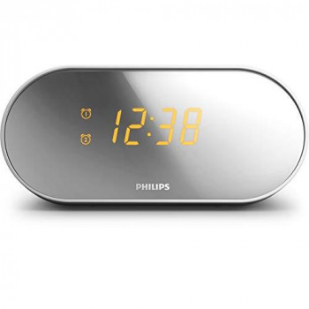 Philips clock radio AJ2000/05 clock radio (FM digital tuner, built-in alarm, 2 alarms, sleep timer, mirror-finish display) white/silver