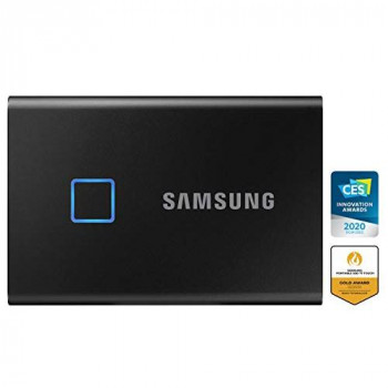 Samsung T7 Touch Portable SSD - 1 TB - USB 3.2 Gen.2 External SSD Metallic Black (MU-PC1T0K/WW)