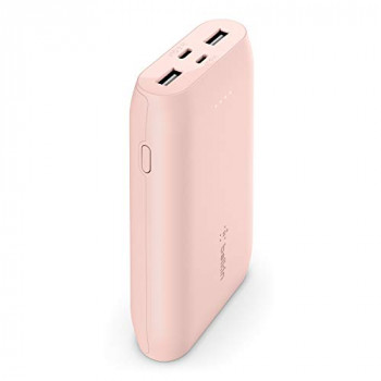 Belkin Portable Power Bank Charger 10K (Portable Charger Battery Pack with USB-C + Dual USB Ports, 10000 mAh Capacity, for iPhone, AirPods, iPad and More) – Rose Gold