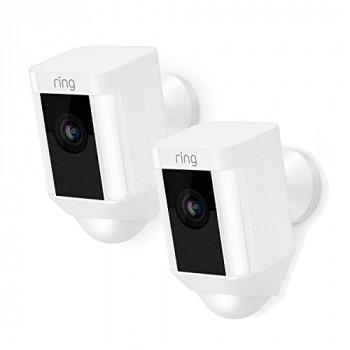 Ring Spotlight Cam Battery - Caméra de surveillance réseau - extérieur - résistant aux intempéries - couleur (Jour et nuit) - 1080p - audio - sans fil - Wi-Fi (pack de 2)