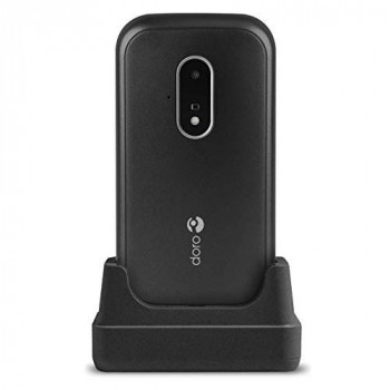 Doro 7030 Unlocked Dual SIM 4G Easy-to-Use Clamshell Mobile Phone for Seniors with WhatsApp, Facebook, GPS Location and Cradle Included (Black)