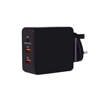Juice Triple Three Port Universal Mains Charger USB Type-C & USB, 3.1A, Black
