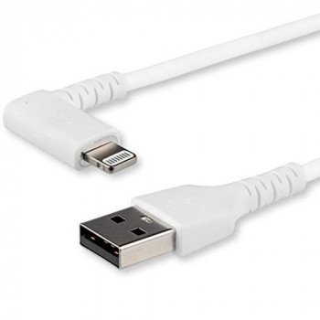 StarTech.com 1m USB A to Lightning Cable - Durable 90 Degree Right Angled White USB Type A to Lightning Connector Sync & Charger Cord w/Aramid Fiber Apple MFI Certified iPad iPhone 11 (RUSBLTMM1MWR)