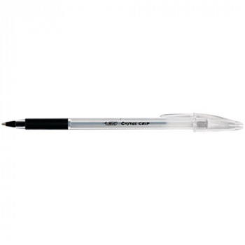 BIC Cristal Grip Ballpoint Pens Black, Box of 20