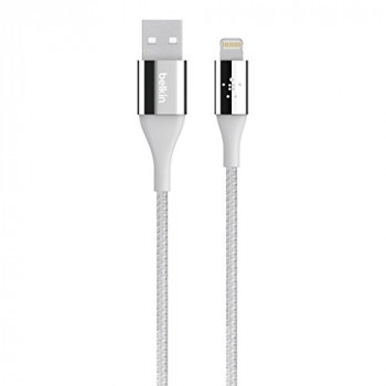Belkin Duratek Kevlar Lightning to USB Charge and Sync Cable for iPad Pro/iPad Air 2/iPad Air/4th Gen/iPad Mini/iPhone 7/7 Plus/SE/5/5s/5c/6/6s/6 Plus/6s Plus (MFI Approved) - Silver
