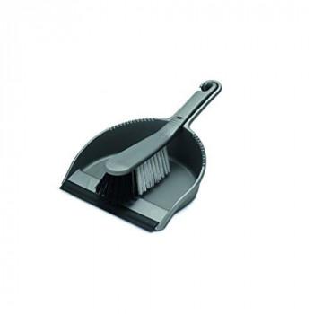 Addis Housewares Dustpan and Stiff Brush Set, Metallic Silver