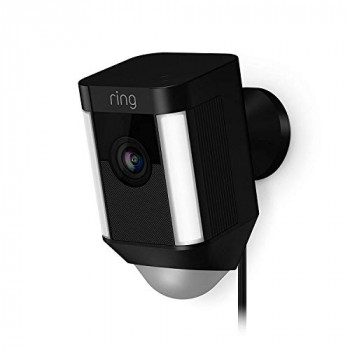 Ring Spotlight Cam Wired HD Security Camera with LED Spotlight, Alarm, Two-Way Talk, UK Plug