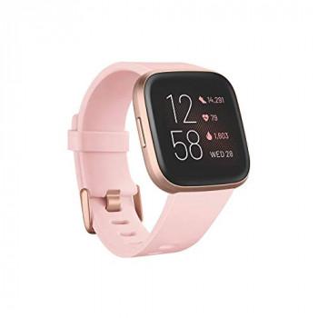 Fitbit Versa 2 Health & Fitness Smartwatch with Voice Control, Sleep Score & Music, Petal/Copper Rose