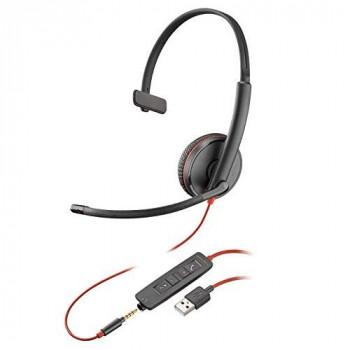 Plantronics Blackwire 3200 Mono Corded UC Headset With USB & 3.5mm Smart Phone Connectivity