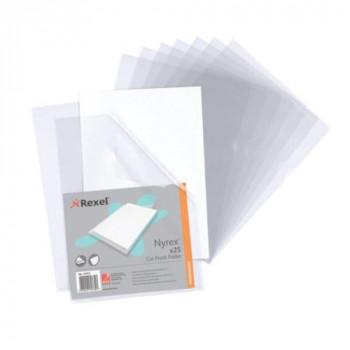 Rexel A4 Folder Nyrex Clear Folder Ref Cut Flush 12153 [Pack 25]