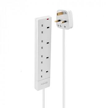 LINDY Power Strip - UK Mains 4 Way Gang Socket White 2m