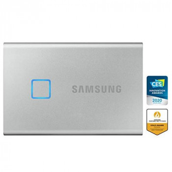Samsung T7 Touch Portable SSD - 2 TB - USB 3.2 Gen.2 External SSD Metallic Silver (MU-PC2T0S/WW)